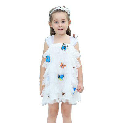 Girls' Straps with Three-dimensional 3D Butterfly Dress