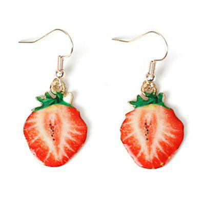 Cute Cartoon Style Fruit Creative Sweet Fresh Strawberry Jewelry Alloy Earrings