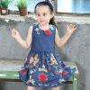 New Girl's Embroidered Skirt with A Wavy Lace Dresses - BLUE