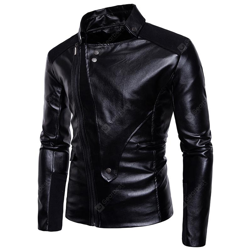 Men'S Leather Jacket Motorcycle Leather Collar