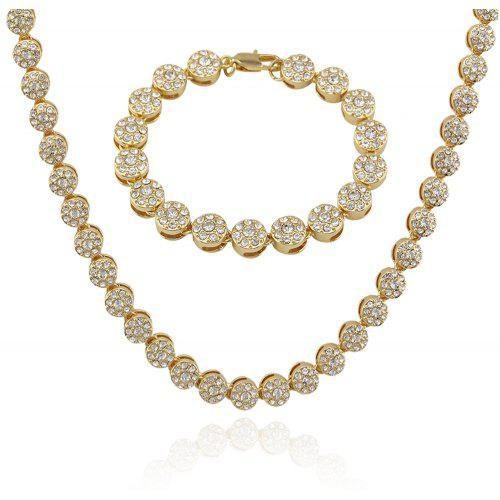 Personality Exaggerated Round Diamond Bracelet Necklace Set