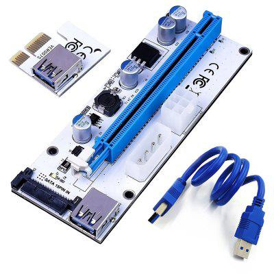 008S PCI-E Express 1x to 16x USB Riser Adapter Card Cable Molex/6pin/Sata USB 3.1 Extension Connector Riser60cm riser card 60cm pcie pci e pci express card 1x to 16x usb 3 0 data cable sata to 6pin ide power supply for miner machine