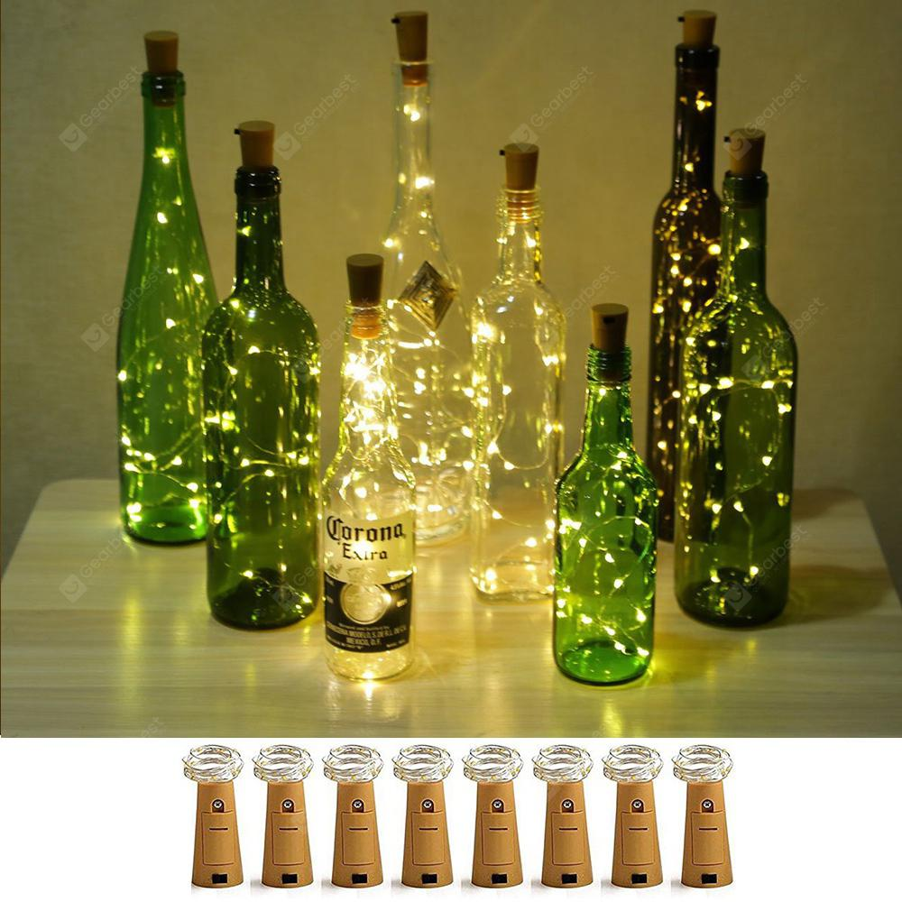 BRELONG 8LED Wine Stopper Latão Luzes Decorativas Light String 8PCS