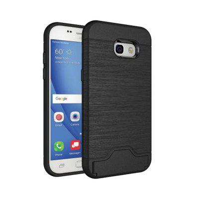 Case for Samsung Galaxy A7 2017 Card Holder with Stand Back Cover Solid Color Hard PC