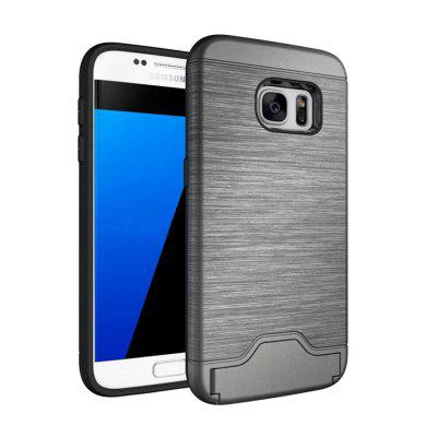 Case for Samsung Galaxy S7 Card Holder with Stand Back Cover Solid Color Hard PC