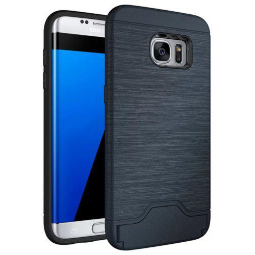 online store a6ccd b9910 Case for Samsung Galaxy S7 Edge Card Holder with Stand Back Cover Solid  Color Hard PC