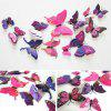 12Pcs/Set Double Layer Wing Butterfly Sticker DIY 3D Sticking for Home Living Room Kitchen Decal - PURPLE
