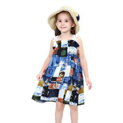 New Girl Ink Painting Bohemia Wind Belt Dress