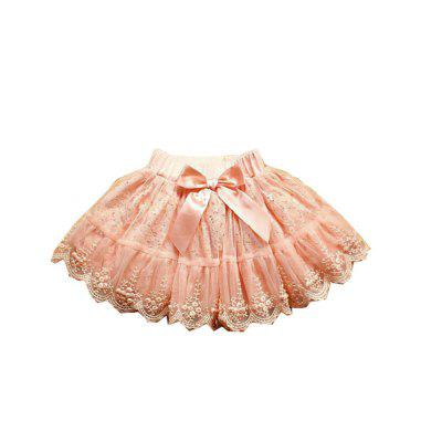 Girls Mini Lace Skirt with Bowknot Design