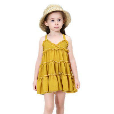 Modern A-type Suspender Design Sleeveless Dress for Girl