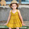 Modern A-type Suspender Design Sleeveless Dress for Girl - YELLOW