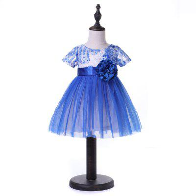 youyouxiu CX1124 - 7 Lace Short Sleeveless Bowknot Design Dress