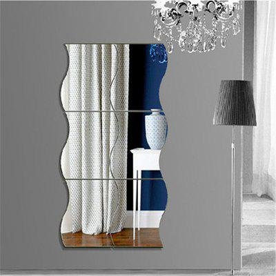 6 Piece Suit Wave Combination of Three-Dimensional Wall Stickers Children's Room Mirror New