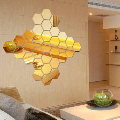 12 Pcs/Set Hexagon Mirror DIY Art Wall Home Decor Living Room Mirrored Decorative Sticker
