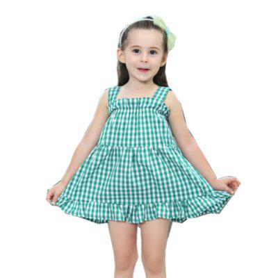 Girl Pleat Cotton Sling Dress