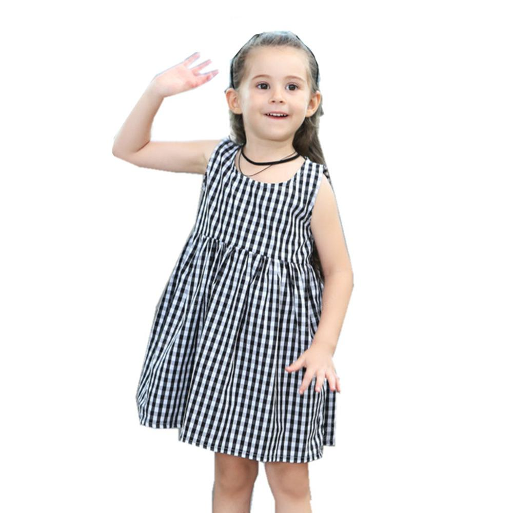 New Girl's Cotton Plaid Dress
