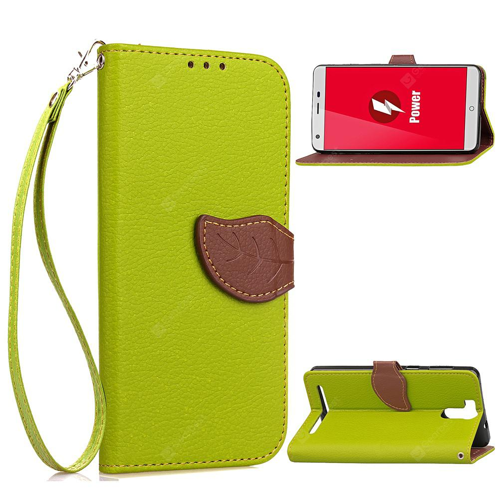 For Ulefone Power Luxury Leaves Leather Phone Case with Lanyard Mobile Phone Shell