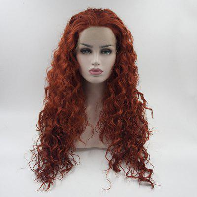 Long Curly Orange Red Heat Resistant Synthetic Hair Lace Front Wigs for Women