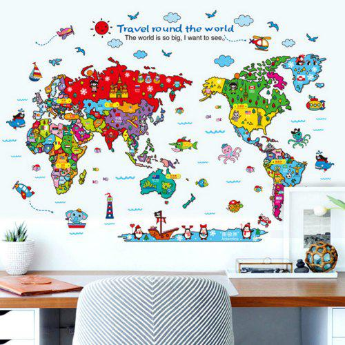 Cartoon Animals World Map Home Decal for Kids Room Decoration Stickers