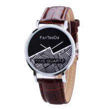 Fanteeda FD101 Män 40 MM Face Analog Quartz Leather Strap Wrist Watch