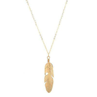 New Fashion Metal Leaf Feather Necklace Sweater Chain