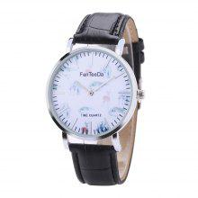 Fanteeda FD096 Män Animal Dial Dial Leather Leather Armbandsur