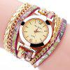 Fanteeda FD092 Women Wrap Around Leather Wrist Watch with Chain - GOLD