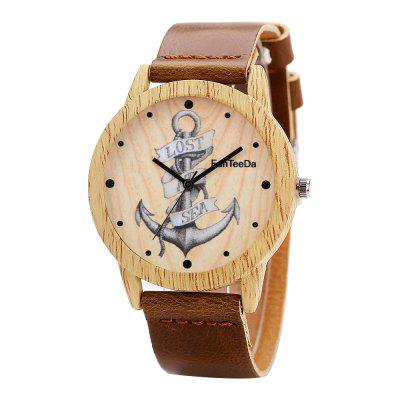 Fanteeda FD063 Unisex Fashion Wooden Case PU Band Quartz Watch