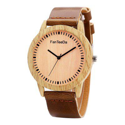 Fanteeda FD067 Unisex Fashion Wooden Case PU Band Quartz Watch
