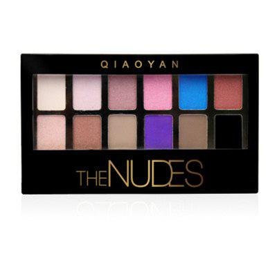 QIAOYAN Nude Color Eye Shadow Plate 12 Color Earth Pearl Light Multicolor