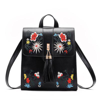 bf246305ef For Sale Tassel Backpack PU Leather Embroidery Women Backpacks for Teenage  Girl School Shoulder Bags