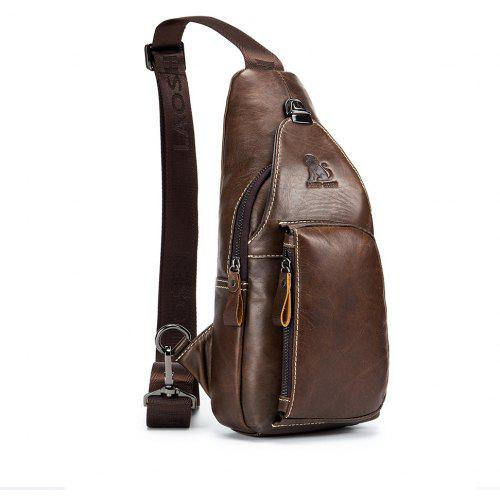 6a7e5408a00a LAOSHIZI LUOSEN 2018 Men Fashion Vintage Genuine Leather Cowhide Travel  Riding Motorcycle Messenger Sling Pack Chest Bag -  22.46 Free  Shipping