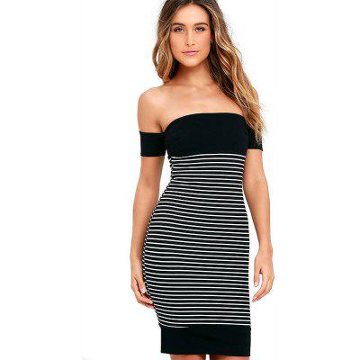 New Leaking Striped Splicing Bandage Dress