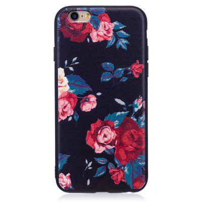 Relief Silicone Case for iPhone 6 / 6S Red Flowers Pattern Soft TPU Protective Back Cover 3d skeleton protective silicone tpu back case for iphone 5c purplish red black