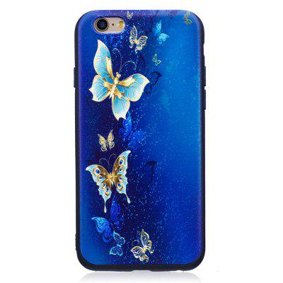 Relief Silicone Case for iPhone 6 Plus / 6S Plus Golden Butterfly Pattern Soft TPU Protective Back Cover vouni galaxy series glittery powder soft tpu cover for iphone 6s plus 6 plus 5 5 inch blue