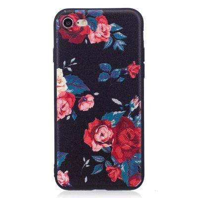 Relief Silicone Case for iPhone 7 / 8 Red Flowers Pattern Soft TPU Protective Back Cover 3d skeleton protective silicone tpu back case for iphone 5c purplish red black