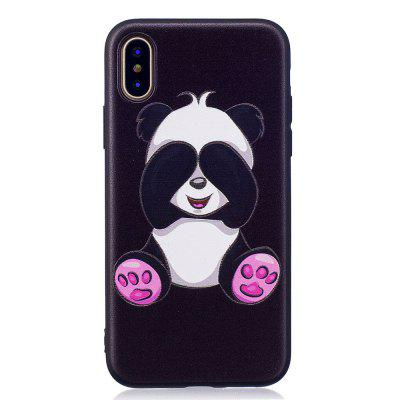 Relief Silicone Case for iPhone X Panda Pattern Soft TPU Protective Back Cover uhappy protective tpu back case cover for up520 gray