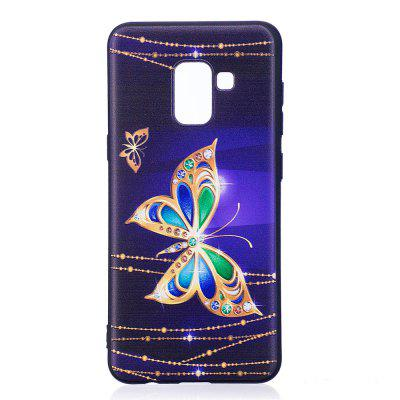 Relief Silicone Case for Samsung Galaxy A8 2018 Large Butterfly Pattern Soft TPU Protective Back Cover cm001 3d skeleton pattern protective plastic back case for samsung galaxy s4