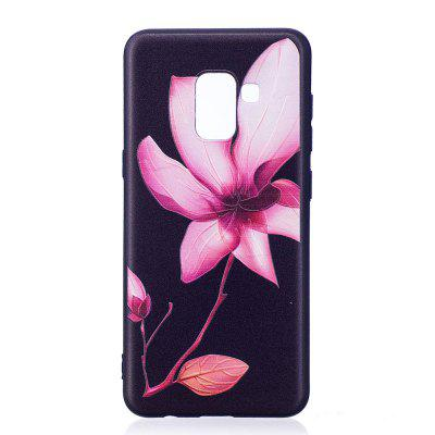 Relief Silicone Case for Samsung Galaxy A8 2018 Lotus Pattern Soft TPU Protective Back Cover cm001 3d skeleton pattern protective plastic back case for samsung galaxy s4