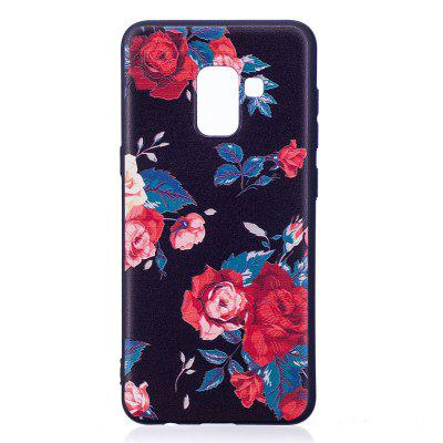 Relief Silicone Case for Samsung Galaxy A8 2018 Red Flowers Pattern Soft TPU Protective Back Cover