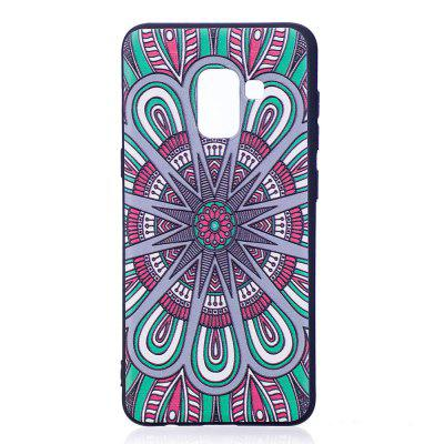Relief Silicone Case for Samsung Galaxy A8 2018 Mandala Pattern Soft TPU Protective Back Cover cm001 3d skeleton pattern protective plastic back case for samsung galaxy s4