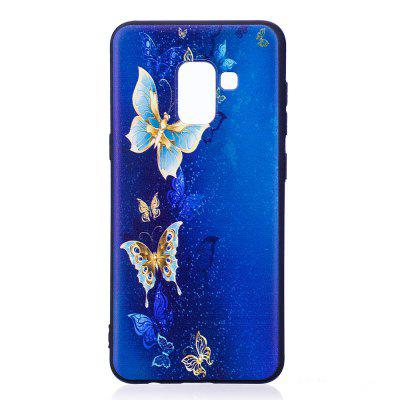 Relief Silicone Case for Samsung Galaxy A8 2018 Golden Butterfly Pattern Soft TPU Protective Back Cover