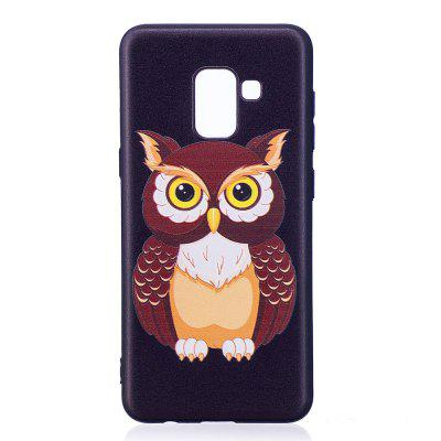 Relief Silicone Case for Samsung Galaxy A8 2018 Owl Pattern Soft TPU Protective Back Cover cm001 3d skeleton pattern protective plastic back case for samsung galaxy s4