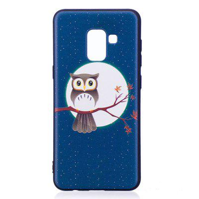 Relief Silicone Case for Samsung Galaxy A8 2018 Moon and Owl Pattern Soft TPU Protective Back Cover