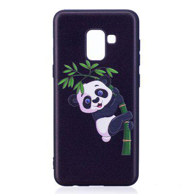 Relief Silicone Case for Samsung Galaxy A8 2018 Bamboo Panda Pattern Soft TPU Protective Back Cover