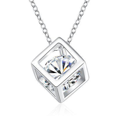 Fashion Cubes Zircon Alloy Pendant Necklace Charm Jewelry