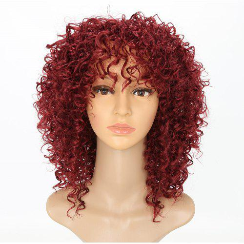 Chic Short Curly Hairstyle Wine Red Color