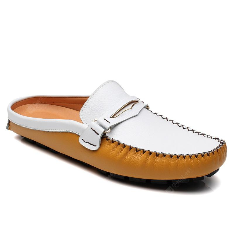 ZEACAVA Slip-on Leather Flat Slippers for Men