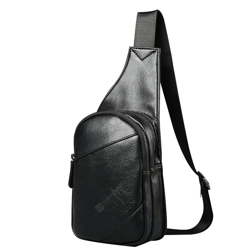 Contrast Color Unbalance Backpack Fashion Vintage Leather Chestpack ... 666aeb6e29f5b