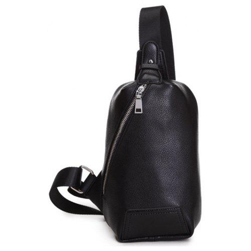 070586f4aca Chest Pack Men Leather Zip Sling Bag Unbalance Backpack Unisex Crossbody  Bag -  19.74 Free Shipping GearBest.com